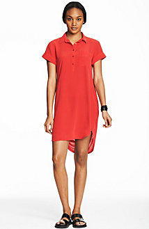 Silk/Jersey Short Sleeve Shirtdress