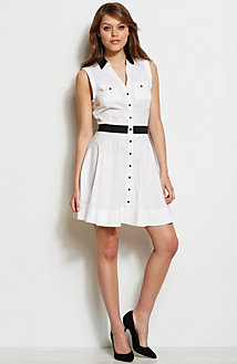Contrast Flared Shirt Dress