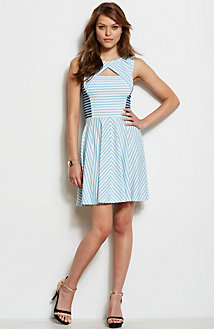 Mixed Stripe Fit & Flare Dress