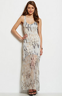Printed Sheer Bottom Maxi Dress