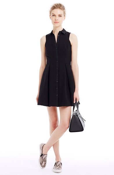 Textured Fit & Flare Shirtdress