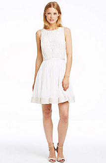 Lace-Trim Swing Dress