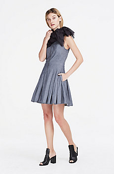 Denim Fit & Flare Dress