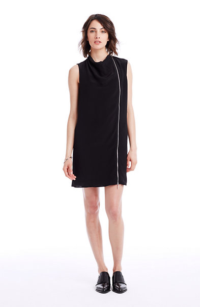 Cowlneck Full-Zip Dress