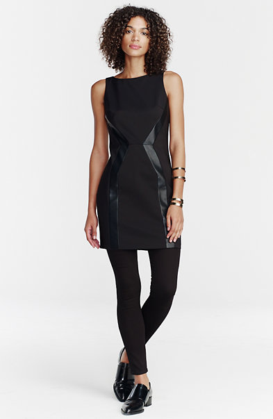 Faux-Leather Trim Sheath Dress
