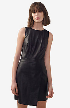Faux-Leather Mini Dress