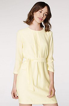 Collarless Belted Shirtdress