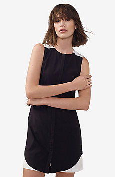 Bicolor Pieced Shirtdress