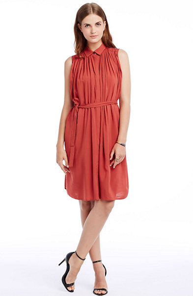 Sleeveless Pleated Shirtdress