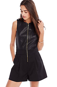 Faux Leather Romper