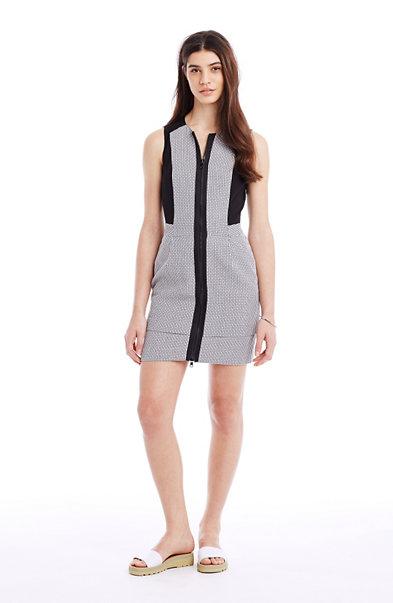 Full-Zip Tweed Dress
