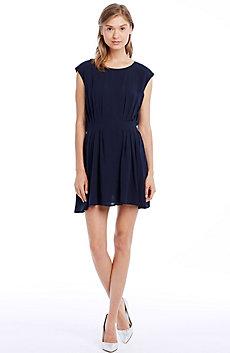 Pintuck Cap Sleeve Dress