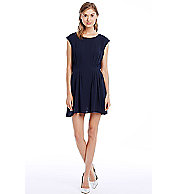 Pintuck Cap Sleeve Dress