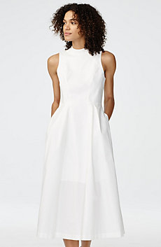 Poplin High-Neck Midi Dress