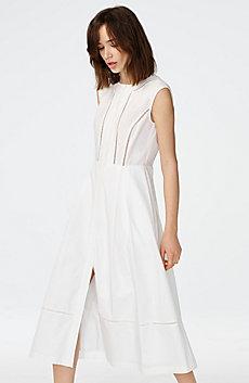 Paneled Poplin Midi Dress