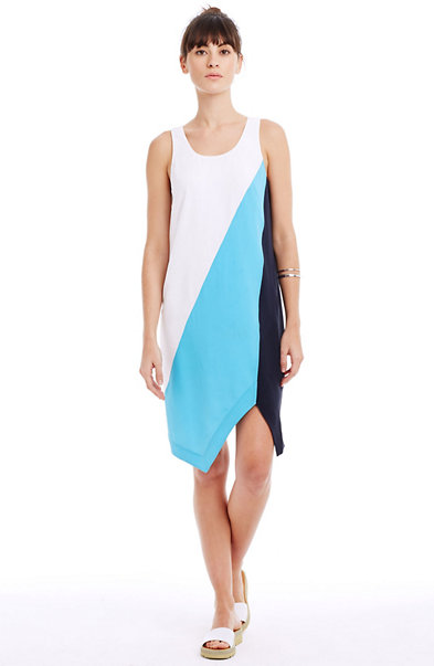 Silk Colorblocked Dress