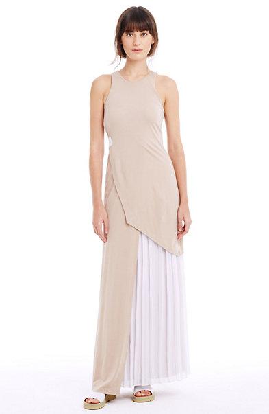 Layered, Pleated Maxi Dress