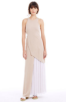 Layered, Pleated Maxi Dress