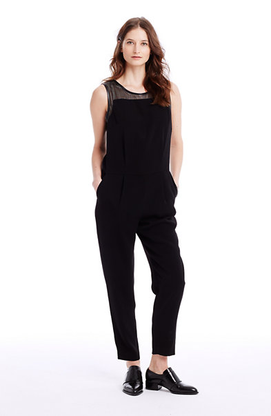Perforated Faux Leather Jumpsuit