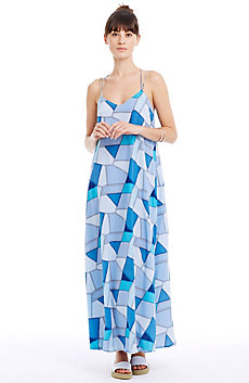 Strappy Printed Silk Maxi Dress