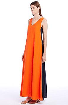 Silk Colorblock Dress