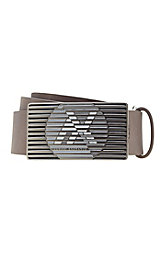 Striped Metal Logo Plaque Belt<br>Online Exclusive