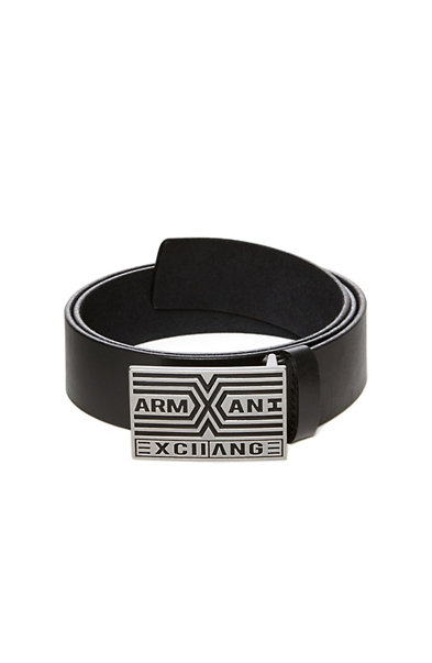 Striped Logo Plaque Belt