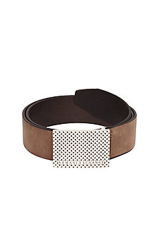 Woven-Print Leather Belt
