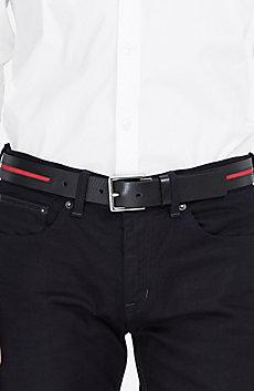 Suede Stripe Leather Belt