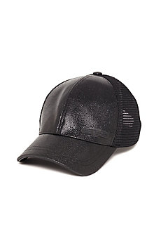 Pebbled Leather Baseball Hat