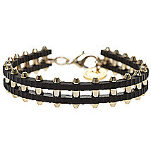 Metal Bullet Leather Bracelet