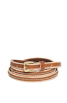 Ball Chain Skinny Leather Belt