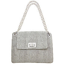 Snake Embossed Turnlock Bag