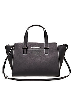 Saffiano Leather Contrast Satchel