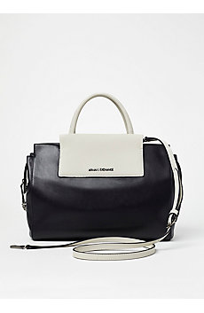 Colorblock Leather Satchel
