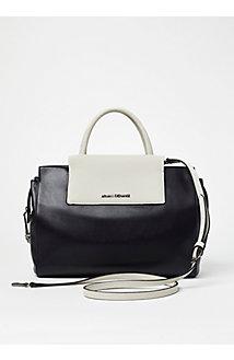Colorblock Leather Satchel