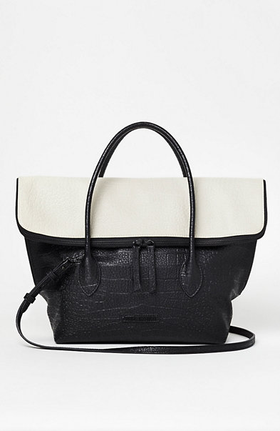 Colorblock Croc Satchel