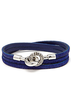 Leather Logo Clasp Bracelet