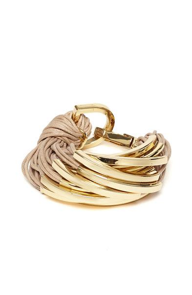Gathered Cord & Metal Bracelet