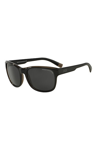 Men's Two-Tone Logo Wayfarer Sunglasses