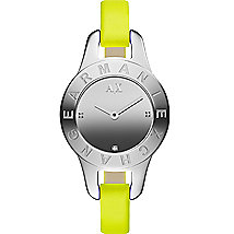 Skinny Yellow Leather Strap Watch