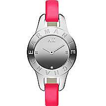 Skinny Pink Leather Strap Watch