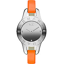 Skinny Orange Leather Strap Watch