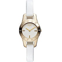 Skinny White Leather Band Watch