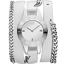 Chain Strap Leather Cuff Watch