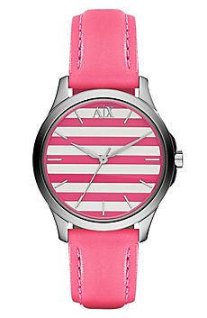 Pink Stripe Leather Watch