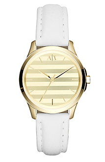 White Stripe Leather Watch