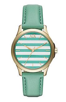 Green Stripe Leather Watch