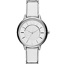 A|X White Leather Band Watch