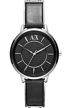 A|X Black Leather Band Watch